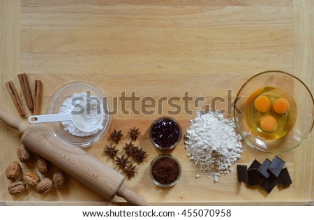 Border with baking ingredients - stock photo