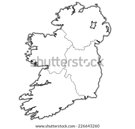 borders and territories of provinces on map of ireland - stock photo