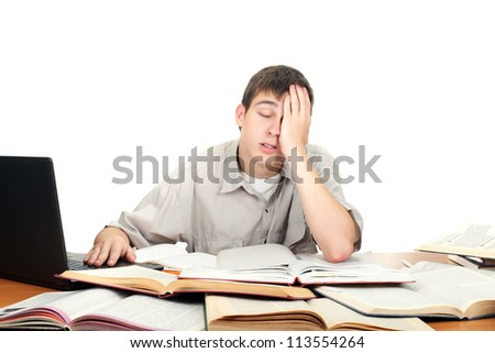 bored and tired student after hard work. isolated on the white background - stock photo