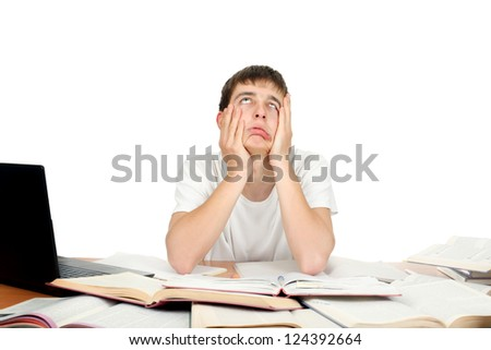 Bored and Tired Student make funny grimace. Isolated on the White Background - stock photo