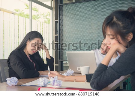 people bored at work. bored business people and sleeping resting on workplace during work meeting, concept of exhausted businesspeople at p