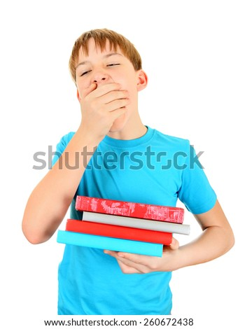 Bored Kid with the Books Isolated on the White Background - stock photo