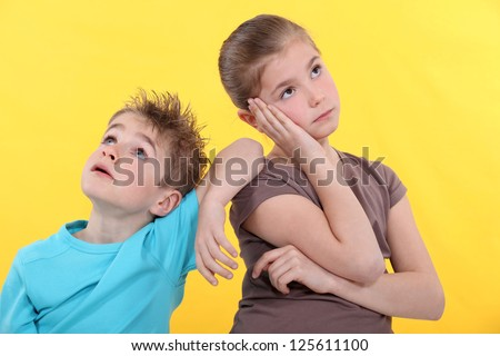 Bored kids - stock photo