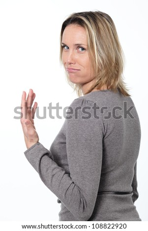 bored lady blowing on white background