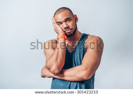 bored man - stock photo