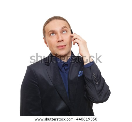 Bored man with annoyed face emotion. Doubtful tired businessman talking on mobile phone, looking skeptic. Communication problem. Unpleasant call, cell phone conversation. Man in suit isolated at white - stock photo