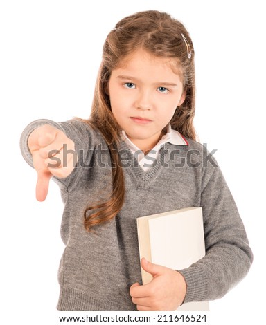 Bored schoolgirl giving a thumbs-down sign - stock photo
