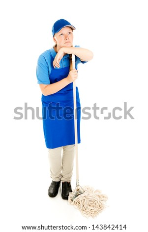Bored teen girl in work uniform, mopping the floor.  Full body isolated on white. - stock photo