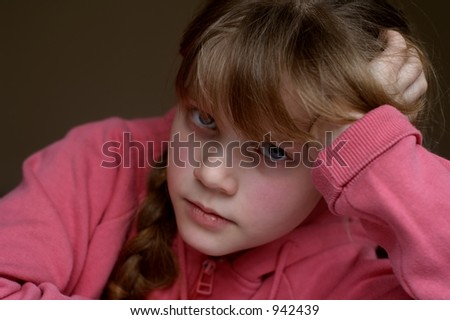 Bored! With pretty blue eyes - stock photo
