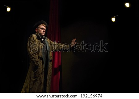 Boredom.  Dramatic theater. Actor on stage performance - stock photo