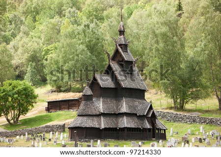 Borgund stave church, typical norwegian wooden church, Sogn of Fjordane, Norway - stock photo
