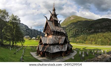 Borgund stave wooden church in Western Norway - stock photo