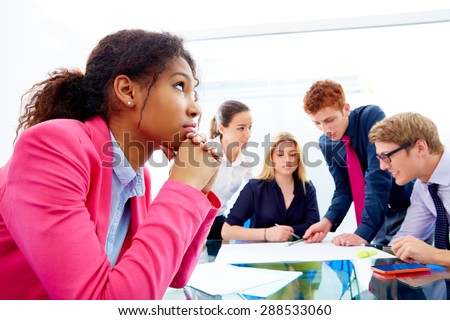 Boring meeting african businesswoman gesture in multi ethnic teamwork at office - stock photo