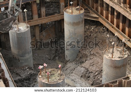 Pile foundation stock images royalty free images for Foundation pilings