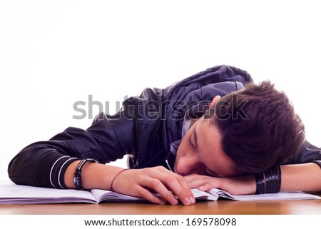 Boring school homeworks - stock photo
