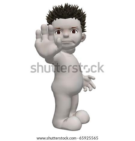Boris 3d character says stop facing right - stock photo
