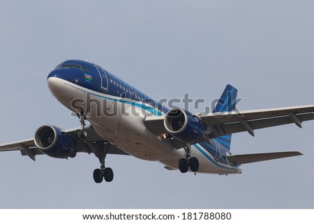 BORISPOL, UKRAINE - MAR 15, 2014: Azerbaijan Airlines Airbus A319-100 aircraft on final approach to Borispol International Airport on March 15, 2014. Editorial use only
