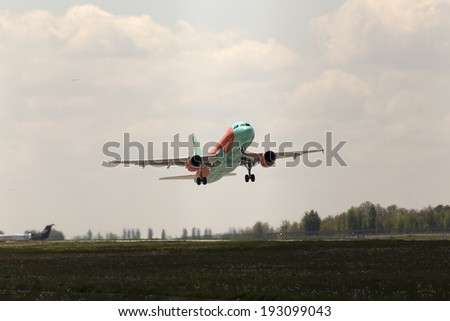 Borispol, Ukraine - May 11, 2014: WindRose Airbus A321-231 aircraft departing from the Borispol International Airport on May 11, 2014. Editorial use only