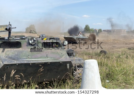 "BORNE SULIMOWO, POLAND - AUGUST 16: Driving on a military range during ""X International meeting of military vehicles  TRACKS AND HORSESHOE""  in Borne Sulinowo, Poland on August 16, 2013"