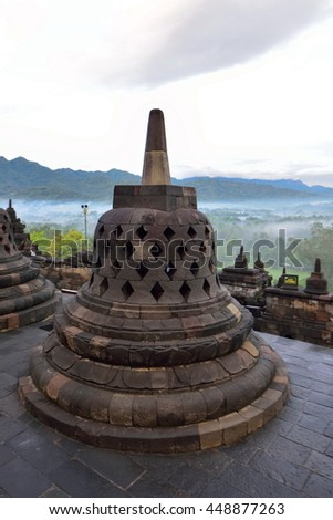 Borobudur, a 9th century Buddhist Temple in Magelang, Central Java, Indonesia, that is listed as a UNESCO World Heritage Site