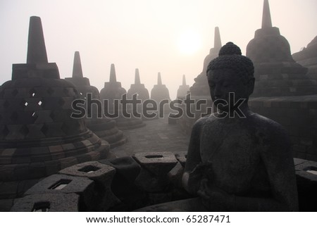 borobudur buddha - stock photo