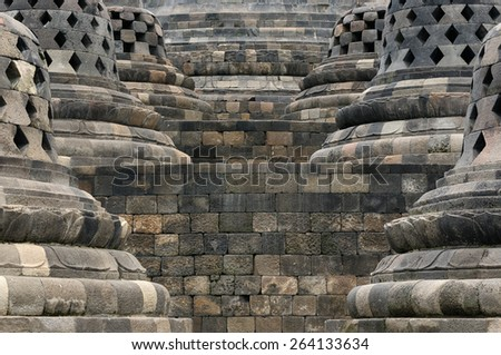 Borobudur Buddhist temple, one of the largest Buddhist churches in the world located on the Indonesian island Java - stock photo
