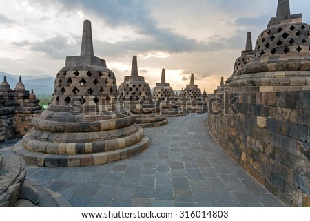 Borobudur Buddhist temple with Stone Carving, Magelang,  Java, Indonesia