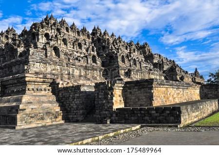 Borobudur complex in Yogjakarta in Java, indonesia - stock photo