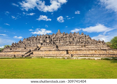Borobudur is a 9th-century Mahayana Buddhist Temple in Magelang, Central Java, Indonesia - stock photo