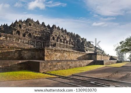 Borobudur mandala temple in surice , near Yogyakarta on Java island, Indonesia - stock photo
