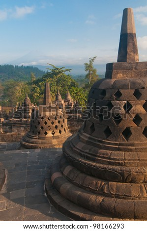 Borobudur temple at sunny morning. Central Java, Indonesia