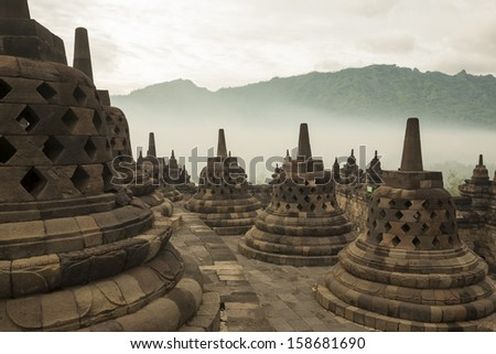Borobudur Temple at sunrise.Indonesia. - stock photo