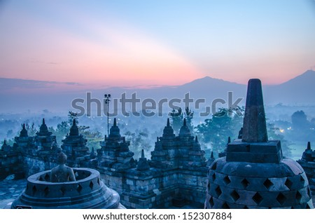 Borobudur Temple at sunrise, Yogyakarta, Java, Indonesia. - stock photo