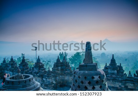 Borobudur Temple at sunrise, Yogyakarta, Java, Indonesia.