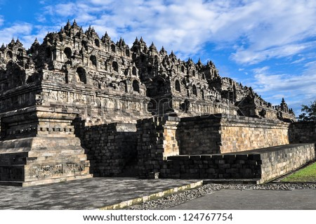 Borobudur temple near Yogyakarta on Java island, Indonesia 2011 - stock photo