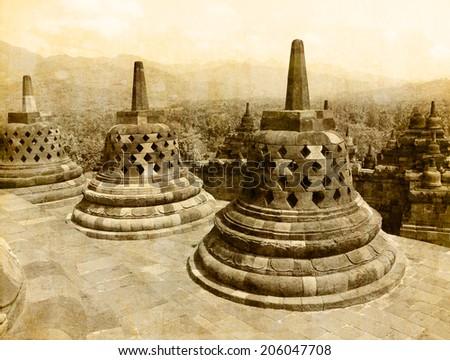 Borobudur temple  vintage effect - stock photo