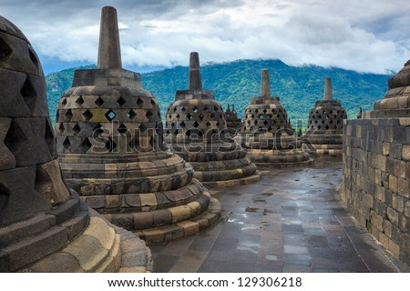 Borobudur temple Yogyakarta. Java, Indonesia - stock photo