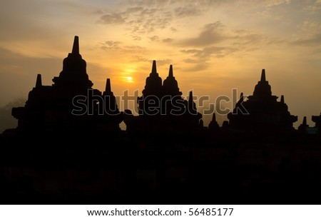 Borobudur Temple. Yogyakarta, Java, Indonesia. - stock photo