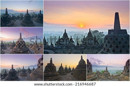 Borobudur Temple, Yogyakarta, Java, Indonesia in a group or collection of pictures