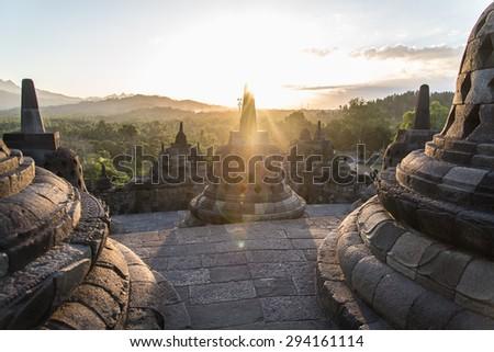 Borobudur , Yogyakarta, Java, Indonesia. - stock photo