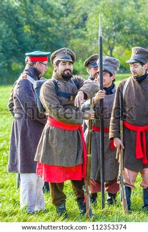 BORODINO, MOSCOW REGION - SEPTEMBER 01: reenactment of the Borodino battle between Russian and French armies in 1812 at its 200th anniversary on September 01, 2012 in Borodino, Moscow Region, Russia.