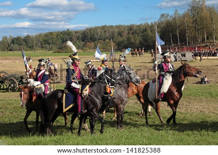 BORODINO, MOSCOW REGION - SEPTEMBER 01: Reenactment of the Borodino battle between Russian and French armies in 1812 at its 200th anniversary on September 01, 2012 in Borodino, Moscow Region, Russia