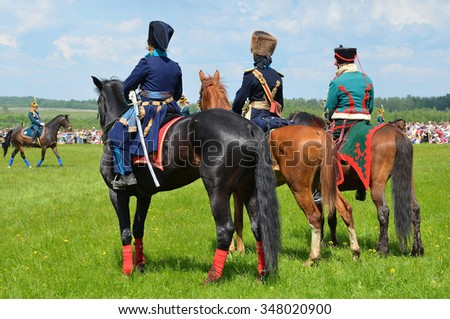 Borodino, Russia, May, 27, 2012, People take part in reconstruction of the battle in Borodino in 1812 year