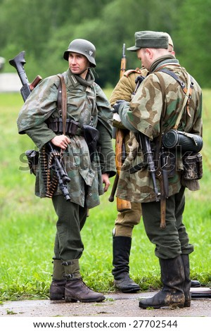 BORODINO, RUSSIA - 25 MAY, 2008: Three men in fascist unifirm at performance of real second war actions Borodino 2008 , Borordino, Russia, 25 may 2008