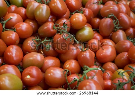 Borough market. London. Red tomatos in grocery store. - stock photo
