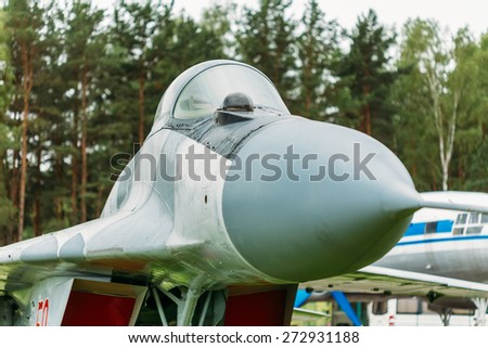 BOROVAYA, BELARUS - June 04, 2014: Russian Soviet multipurpose frontline fighter  fourth generation Mikoyan MiG-29. Developed by the Mikoyan design bureau as an air superiority fighter during the 1970 - stock photo