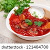 Borsch - beetroot traditional soup - stock photo