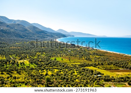 Borsh beach with beautiful landscape in Albania