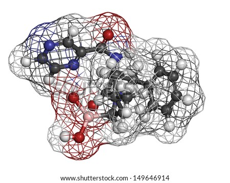 Bortezomib cancer drug (proteasome inhibitor), chemical structure. Atoms are represented as spheres with conventional color coding: hydrogen (white), carbon (grey), nitrogen (blue), etc - stock photo