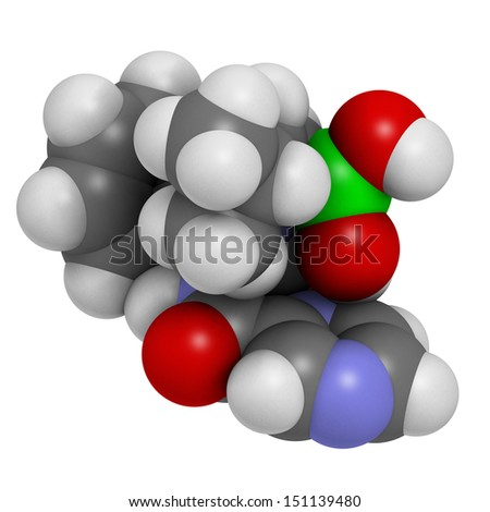 Bortezomib cancer drug (proteasome inhibitor), chemical structure. Atoms are represented as spheres with conventional color coding: hydrogen (white), carbon (grey), nitrogen (blue), oxygen (red)v - stock photo